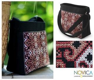 Cotton 'Hypnotic Poppy' Shoulder Bag (Thailand)