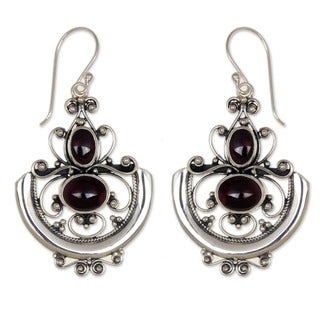 Sterling Silver Garnet 'Arabesques' Dangle Earrings (Indonesia)