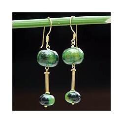 Gold Vermeil Chrysocolla 'Convergence' Drop Earrings (Thailand)