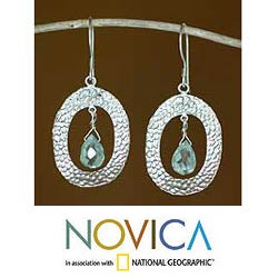 Sterling Silver 'Aqua Tear' Glass Gem Dangle Earrings (Indonesia)