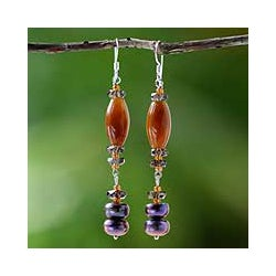 Silver Tiger's Eye/ Smokey Quartz/ Pearl 'Warmth' Earrings (8 mm) (Thailand)