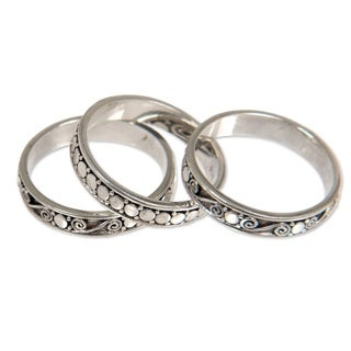 Set of 3 'Sterling Silver 'Together' Band Rings (Indonesia)
