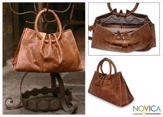 'Honey Hoops' Leather Handbag (Mexico)