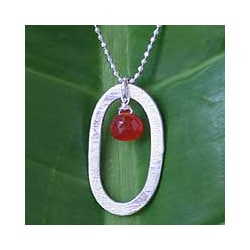 Sterling Silver Carnelian 'Fiery Ice' Necklace (Thailand)