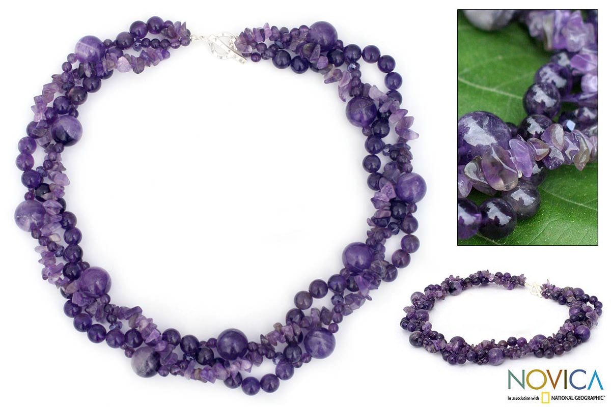 Sterling Silver Amethyst 'Glorious' Torsade Necklace (Thailand)