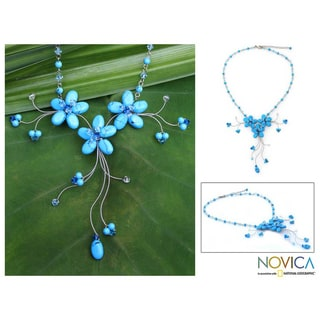 'Blue Floral Cascade' Flower Necklace (Thailand)