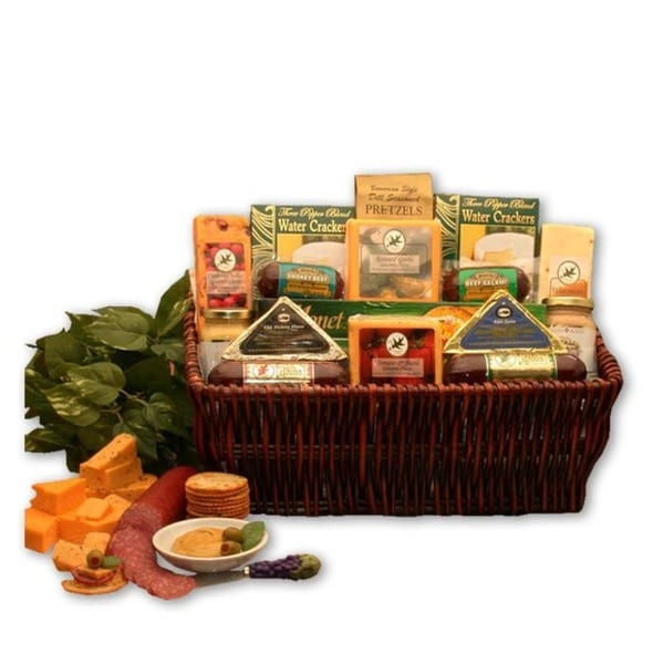 The Classic Gourmet Meat & Cheese Small Sampler Handpacked Basket Fine Cheese, Oils, Balsamic -