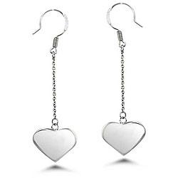 Oliveti Stainless Steel Dangling Heart Earrings