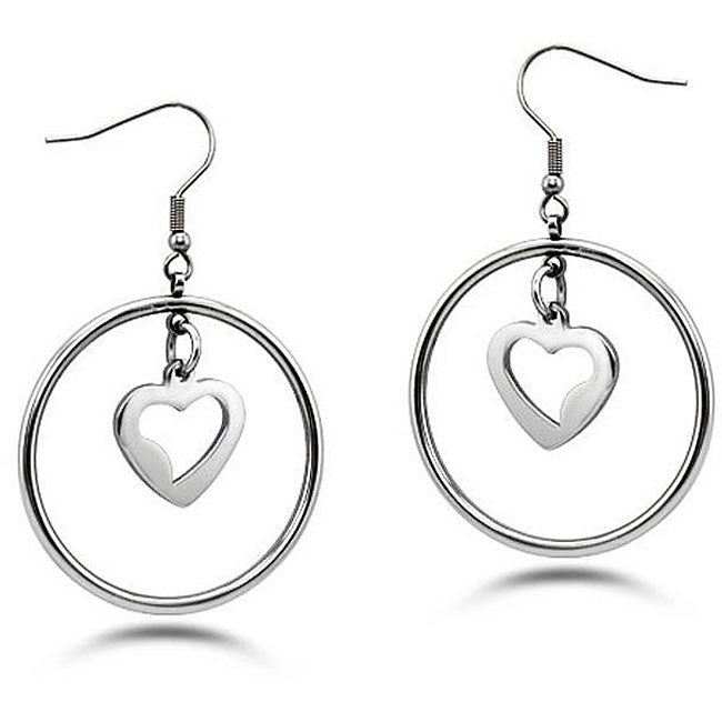 Oliveti Stainless Steel Dangling Hearts Hoop Earrings