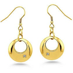 Oliveti Goldplated Stainless Steel Cubic Zirconia Crescent Circle Earrings