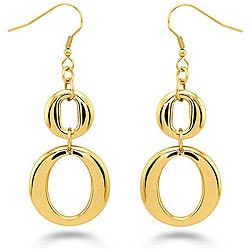 Oliveti Goldplated Stainless Steel Double 'O' Dangle Earrings
