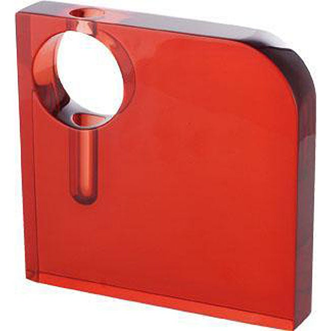 Roth 8-inch Red Resin Square Vase