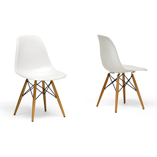 Wood Leg White Accent Chairs (Set of 2)