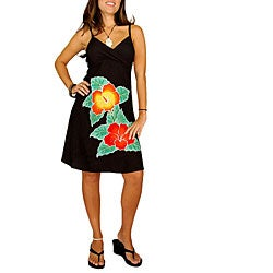 Hand-painted Hibiscus Mini Black Dress (Indonesia)