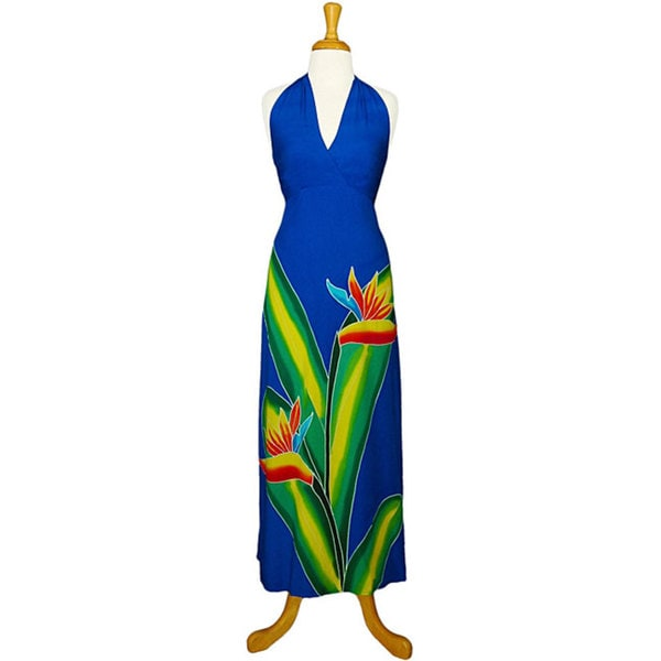 Hand-painted Bird of Paradise Long Royal Blue Dress (Indonesia)