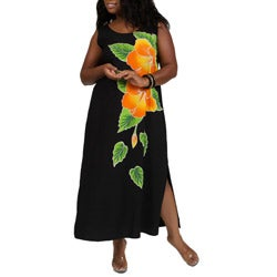Long Black Dress with Hand Painted Gold Hibiscus Design