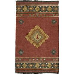 Hand-woven Burgundy Southwestern Aztec Santa Fe Wool Set of 2 Rugs (2' x 3')