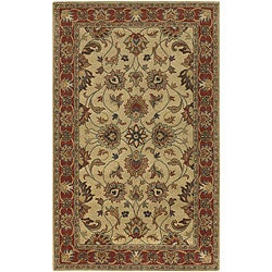 Hand-tufted Coliseum Beige/Red Traditional Border Wool Rug (6' x 9' Oval)