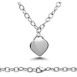 Oliveti Stainless Steel Heart Charm Necklace