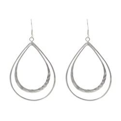 Tressa Sterling Silver Double Drop Hoop Earrings