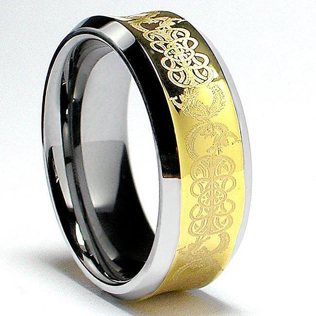 Men's Tungsten Goldplated Carbide Concave Dragon Celtic Ring (8 mm)