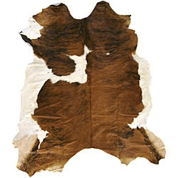Hand-crafted Light Brindle Jersey Leather Cowhide Rug (Dimension is 7'7)