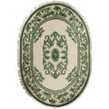 Hand-knotted Bengal New Zealand Wool Oval Rug (7'6 x 9'6)