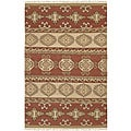 Hand-woven Red/Tan Southwestern Aztec Laredo Hard Twist Wool Rug (5' x 8')