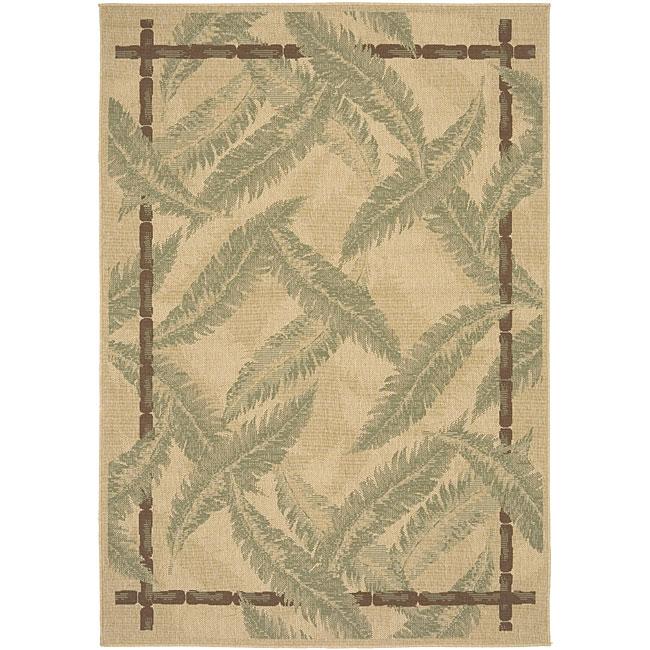 Beige Wool Botanical Indoor/Outdoor Rug (6' x 9')