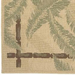 Beige Wool Botanical Indoor/Outdoor Rug (6' x 9')
