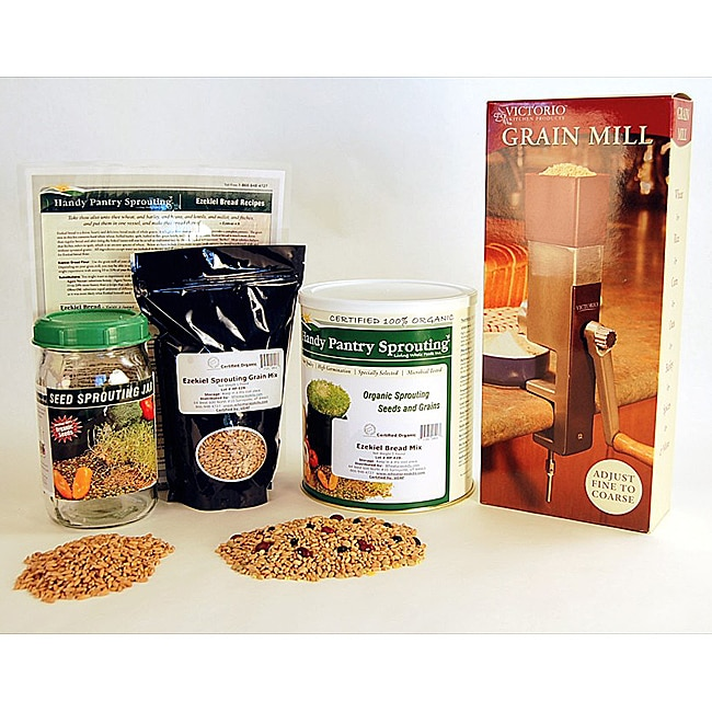 Organic Ezekiel Bread Making Kit with Victorio Manual Grinder