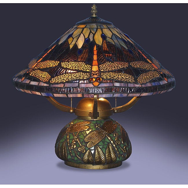 details about dragonfly table lamp tiffany style elegant stained glass. Black Bedroom Furniture Sets. Home Design Ideas
