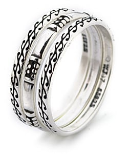 CGC Sterling Silver Scroll Design Stackable Ring Set