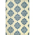 Hand-hooked Miff Ivory/ Blue Wool Rug (7'9 x 9'9)