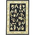 "Hand-Hooked Garden Black Indoor Wool Rug (5'3"" x 8'3"")"