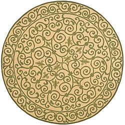 Safavieh Hand-hooked Iron Gate Yellow/ Light Green Wool Rug (3' Round)