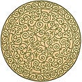 Hand-hooked Iron Gate Yellow/ Light Green Wool Rug (3' Round)