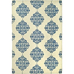 Hand-hooked Miff Ivory/ Blue Wool Rug (8'9 x 11'9)