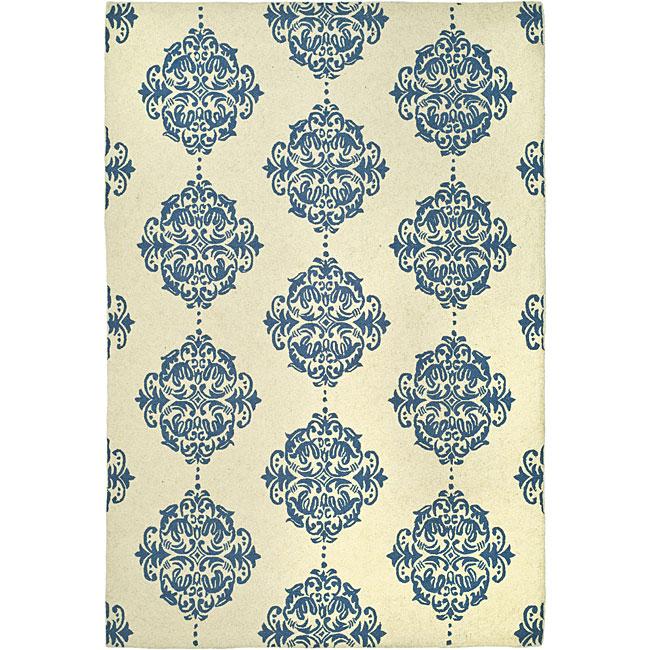 Safavieh Hand-hooked Miff Ivory/ Blue Wool Rug (6' x 9')