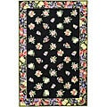 Hand-hooked Fruit Harvest Black Wool Rug (6' x 9')