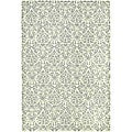 Hand-hooked Damask Beige-Yellow/ Grey Wool Rug (8'9 x 11'9)