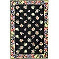 Hand-hooked Fruit Harvest Black Wool Rug (3'9 x 5'9)