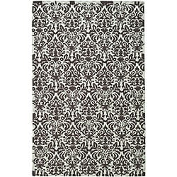 Hand-hooked Damask Sage/ Chocolate Wool Rug (7'9 x 9'9)