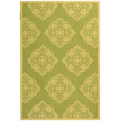 Hand-hooked Motifa Light Green Wool Rug (5'3 x 8'3)