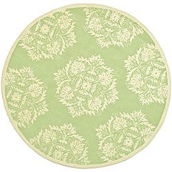 Hand-hooked Motifa Light Green Wool Rug (6' x 9')