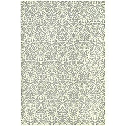 Hand-hooked Damask Beige-Yellow/ Grey Wool Rug (7'9 x 9'9)