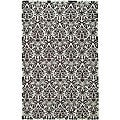 Hand-hooked Damask Sage/ Chocolate Wool Rug (5'3 x 8'3)