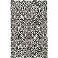 Hand-hooked Damask Sage/ Chocolate Wool Rug (6' x 9')