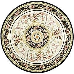 Safavieh Hand-hooked Aubusson Ivory/ Burgundy Wool Rug (5'6 Round)