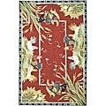 Safavieh Hand-hooked Roosters Burgundy Wool Rug (5'3 x 8'3)